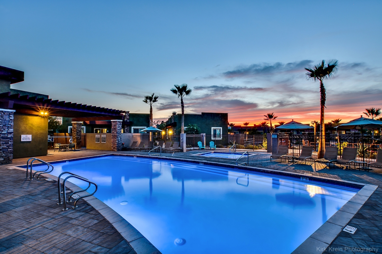 Gilbert, AZ Multifamily Pool Twilight - Phoenix Architectural and Commercial Real Estate Photography by Photographer Kirk Krein, Phoenix, AZ and the East Valley including Gilbert, Chandler, Scottsdale, Tempe and Mesa, AZ.
